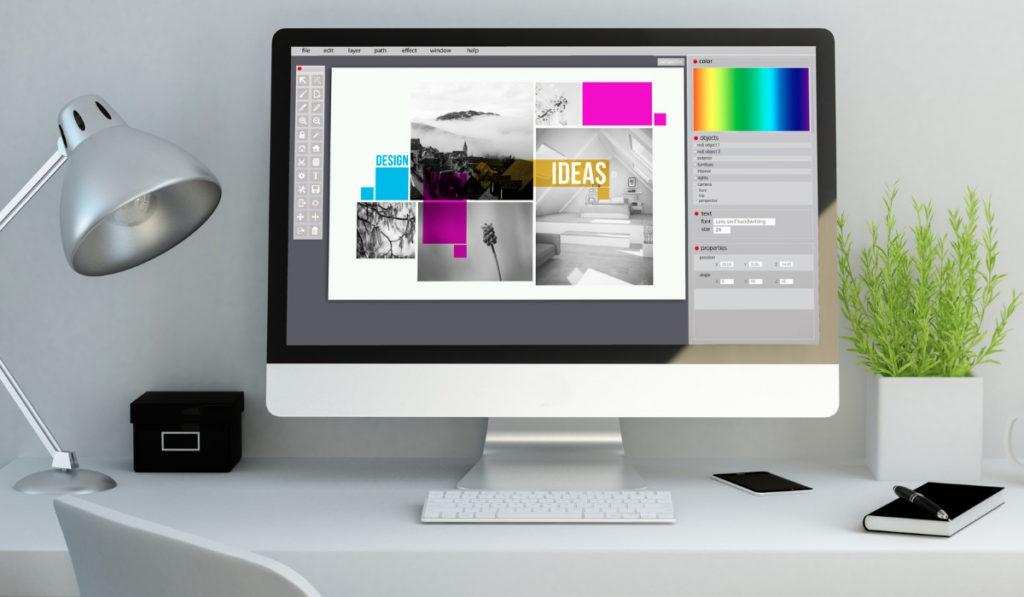 diseñador grafico con herramientas de diseñ