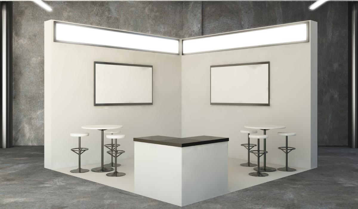 Stand de feria con espacio para pantallas LED